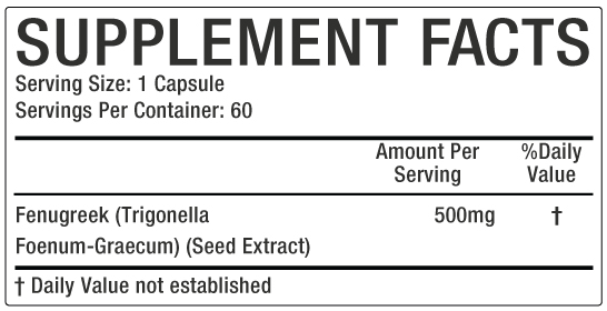 Fanugreek Supplement Facts image