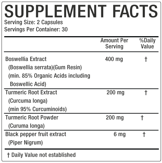 Boswilllia Supplement facts image